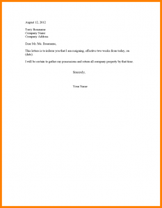 official resignation letter letter weeks notice resignation letter two weeks notice