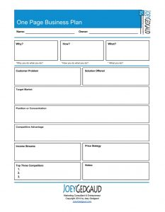 one page business plan pdf one page business plan image
