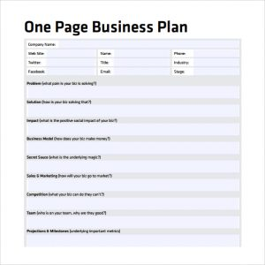 one page business plan pdf one page business plan to download