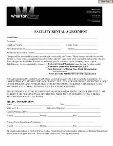 one page lease agreement facility rental agreement form