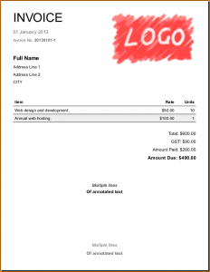 one page lease agreement simple invoice screenshot