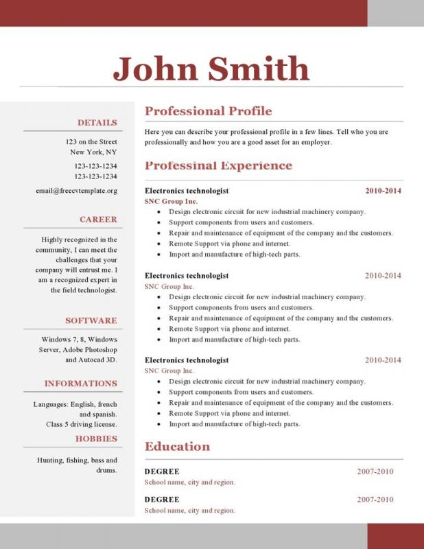 one page resume examples