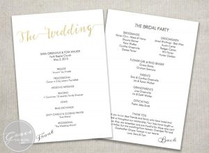 one page wedding program template gold wedding ceremony program instant download slant title running off pagegold faux foil calligraphy style diy template printablex