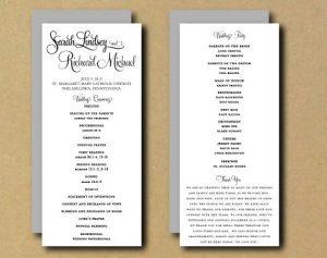 one page wedding program template il xn bhta