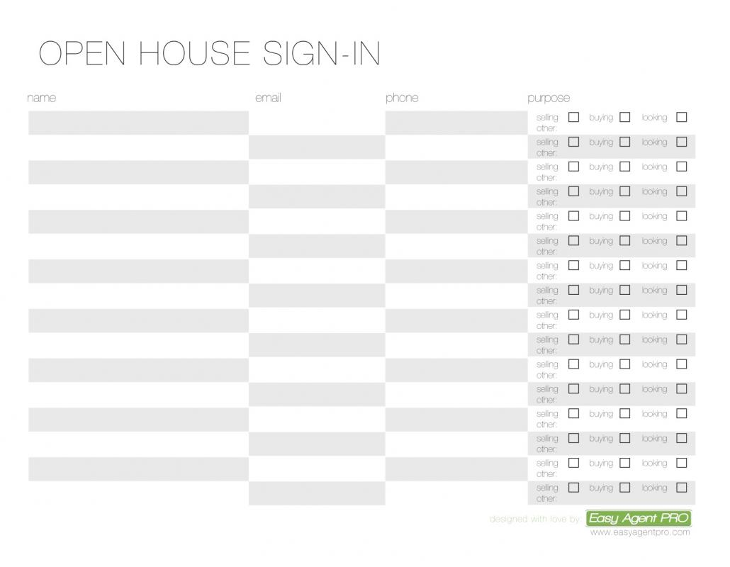 open house sign in sheet printable