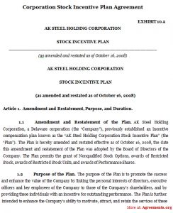 operating agreement example corporation stock incentive plan agreement