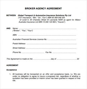 operating agreement sample business broker agency agreement template