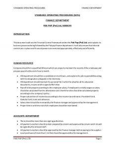 operating agreement sample sops of finance dept