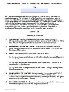 operating agreement template download texas llc operating agreement template wikidownload regarding articles of organization llc template