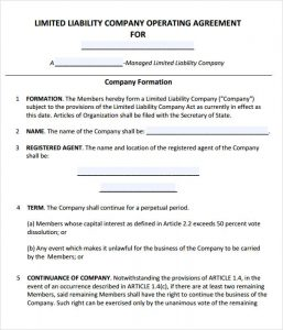 operating agreement template llc operating agreement template