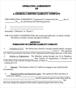 operating agreement template llc operating agreement template pdf
