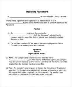 operating agreement template operating agreement template