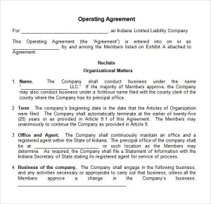 operating agreement template operating agreement template word