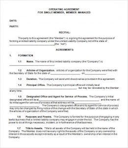 operating agreement template single member llc operating agreement template free