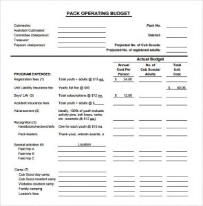 operating budget example sample operating budget template