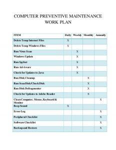 operating budget template computer maintenance work plan