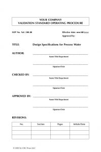 operating manual template validation standardoperatingprocedures
