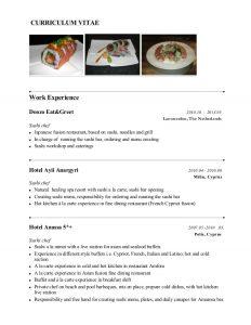 operation manager resume sushi chef presentasjon