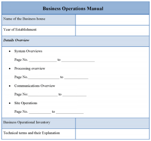 operational manual template business operations manual template