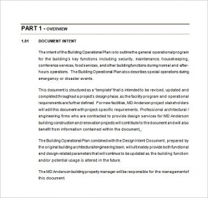 operational plan examples building operational plan free word template download