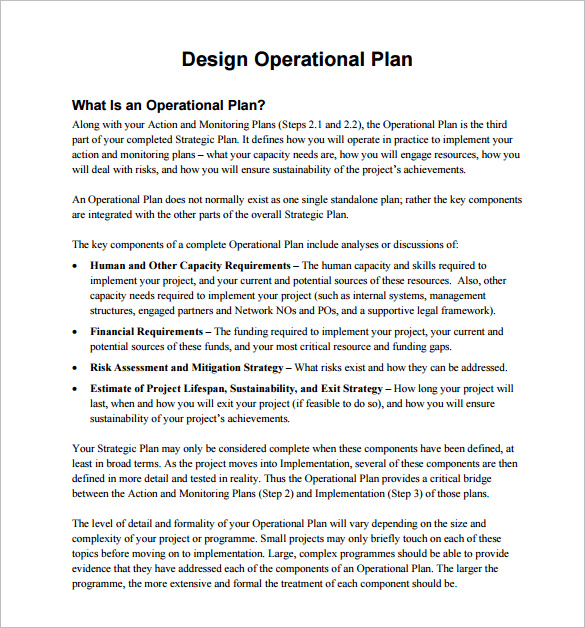 operational plan examples
