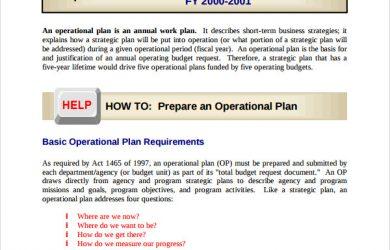 operational plan template prepare an operational plan template