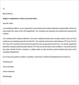 opt employment letter employment contract rejection letter