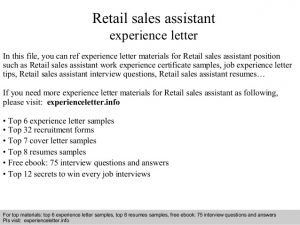 opt employment letter retail sales assistant experience letter