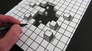 optical illusion drawings optical illusion cube drawing