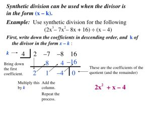 order form example synthetic division