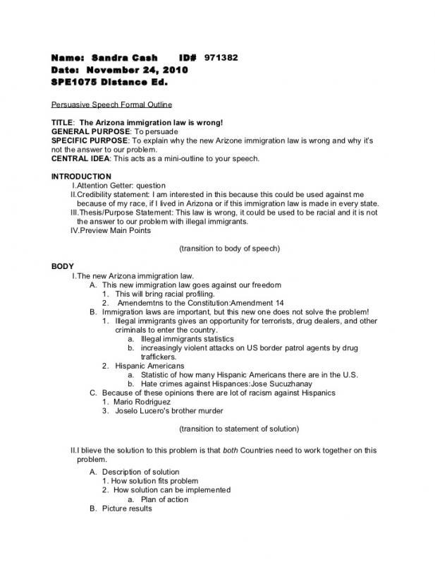 outline for a speech