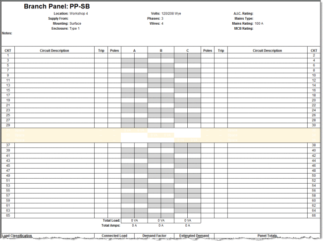 panel schedules template