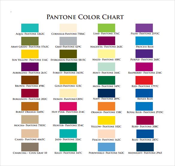 pantone color chart pdf