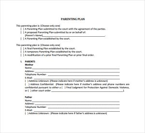 parenting plan template parenting plan template download