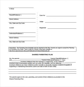parenting plan template simple parenting plan template