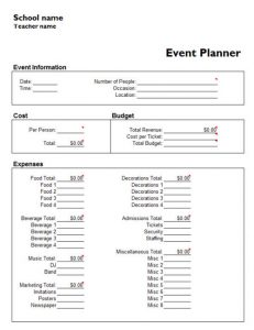 party planner template event planner