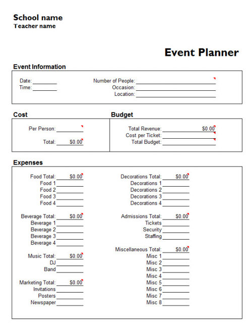 party planner template