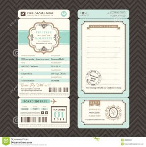 passport invitations templates vintage style boarding pass ticket wedding invitation template vector