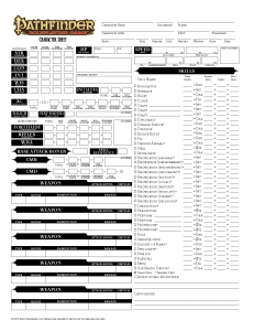 Pathfinder Printable Character Sheet | Template Business