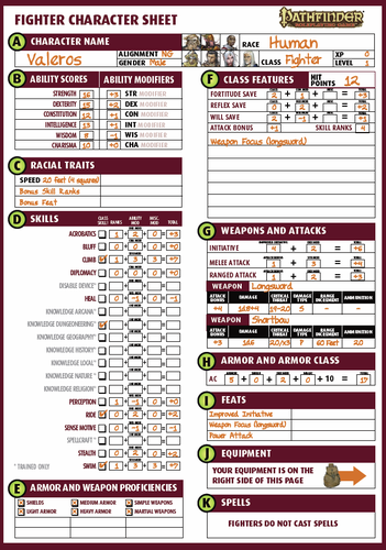 Pathfinder Printable Character Sheet   Template Business