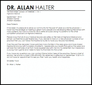 patient dismissal letter physician retirement letter