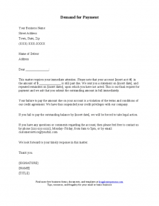 payment demand letter demand for payment letter
