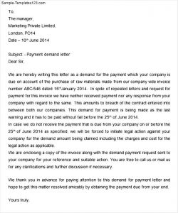 payment demand letter demand letter for payment