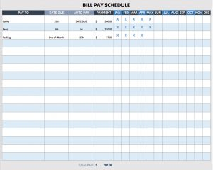 payment schedule template bill payment schedule template
