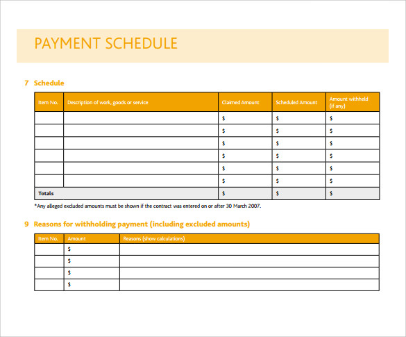 payment schedule template