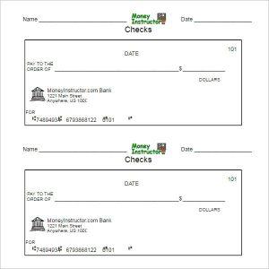payroll checks template printable blank check template pdf format