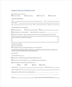 payroll deduction form employee gift payroll deduction form