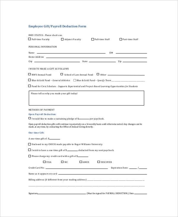 payroll deduction form