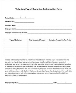 payroll deduction form voluntary payroll deduction form template