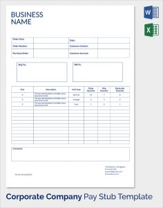 payroll stub template business name pay stub template